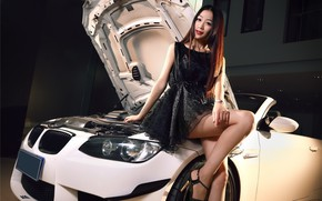 Picture look, Girls, BMW, Asian, beautiful girl, leaning on the car, white car