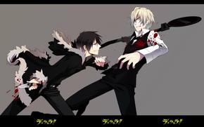 Picture blood, spot, knife, grin, art, opponents, the fight, wounds, Durarara!, Heiwajima Shizuo, Durarara!!, The headless …