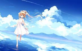 Picture clouds, nature, anime, art, kamio misuzu, Devochka, Air