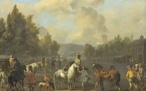 Picture oil, picture, canvas, Johannes Lingelbach, Riding School