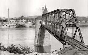 Wallpaper USA, river, 1903-the year, bridge, retro