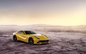 Picture desert, yellow, The Ferrari F12