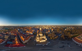 Picture sea, the sky, the city, dawn, coast, home, Estonia, Tallinn, Church, panorama