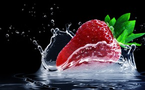 Wallpaper squirt, strawberry, water, splash