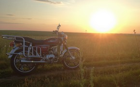 Picture field, summer, the sun, landscape, sunset, nature, motorcycles, technique, moped, beautiful, motorcycle, alpha, alpha, moped …