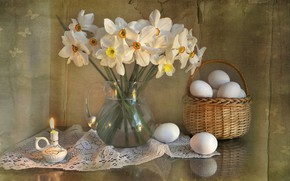 Picture flowers, holiday, bouquet, spring, Easter, still life, daffodils, composition, April