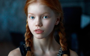 Picture freckles, braids, the beauty, redhead, Alexander Vinogradov, Alexander Vinogradov, Anastasia Zhukova