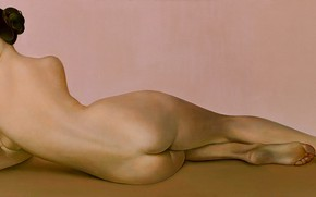 Picture ass, woman, naked, back, 2007, heel, Muse, Figurative painting, Normunds Braslins