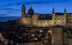 Picture night, lights, castle, Italy, Cathedral, Marche, Urbino
