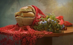 Picture flowers, tale, spring, may, still life, basket, cakes