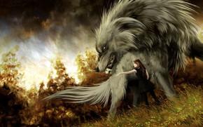 Wallpaper girl, wolf, art, fantasy, Hound, Anna Podedworna