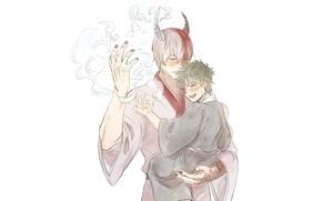 Picture anime, boy, the demon, art, white background, Boku no Hero Academy, Midori Isuku, Todoroki Shoto