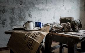 Picture house, room, mug, newspaper, gas mask, stool, life, news