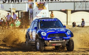 Picture Auto, Mini, Blue, Machine, Speed, Race, Dirt, Lights, Car, Rally, SUV, Rally, The front, X-Raid …