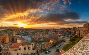 Wallpaper clouds, the sky, dawn, Cagliari, sea, coast, roof, panorama, home, street, Italy, rays, the sun