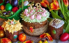 Picture Easter, tulips, cream, decor, eggs, cakes