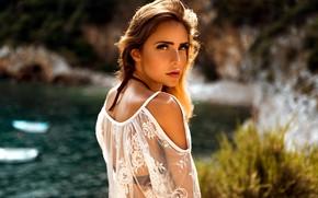Picture look, water, the sun, model, portrait, makeup, hairstyle, brown hair, bokeh, Jessi, Miro Hofmann