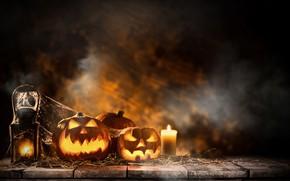 Wallpaper pumpkin, candles, holiday, Halloween