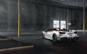 Picture Ferrari, White, Supercar, Wide, Rear, 488, Rearl