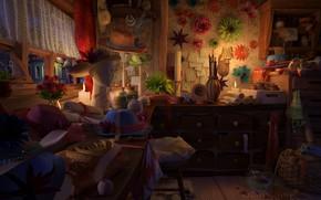 Picture decoration, table, room, Atelier, Hat Shop