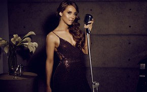 Wallpaper girl, sweetheart, woman, model, tenderness, slim, dress, hairstyle, beauty, neckline, microphone, girl, beautiful, curls, long ...