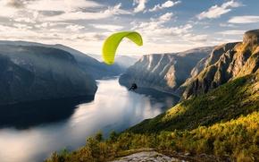 Picture Norway, Paraglider, Aurlandfjord