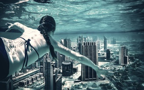 Picture water, girl, the city, depth