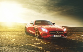 Picture Mercedes-Benz, Red, Car, AMG, Sunset, Liberty, Walk