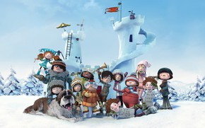 Picture animation, girl, dog, snow, boy, cartoon, friends, Snowtime