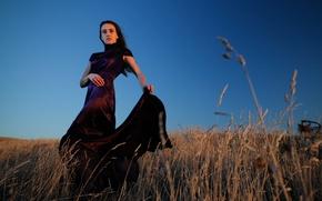 Wallpaper blue hour, dress, countryside, girl