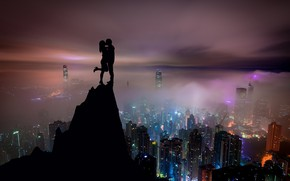 Wallpaper skyscrapers, guy, lovers, the city, view, night, girl, the sky, kiss