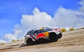 Picture The sky, Sand, Sport, Speed, Race, Peugeot, Lights, Red Bull, 300, Rally, Dakar, Dakar, Rally, …