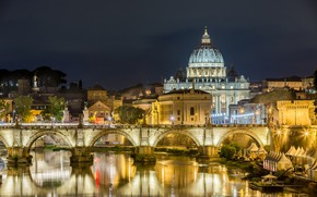 Picture trees, night, bridge, lights, river, home, Rome, lights, Italy, Palace
