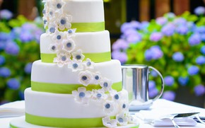 Picture flowers, cake, wedding, sweet