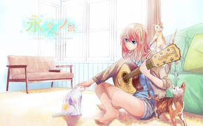 Picture cats, room, sofa, shorts, guitar, window, characters, vocaloid, sitting on the floor, pink hair, Megurine …