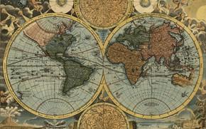 Picture travel, world map, geography, 1716, Johann Baptist Homann