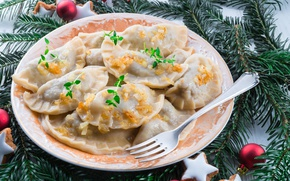 Picture New Year, Branches, Christmas, Plate, Plug, Food, Products, Food, Dumplings