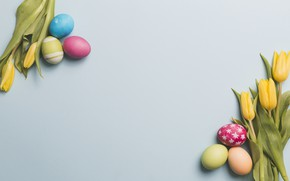 Picture flowers, spring, yellow, Easter, tulips, yellow, flowers, tulips, spring, Easter, eggs, decoration, Happy, the painted …