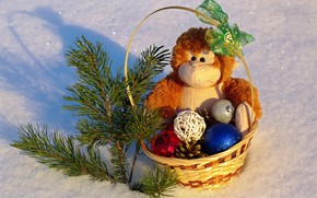 Picture winter, snow, flowers, mood, holiday, toys, new year, positive, monkey, gifts, holidays, Christmas balls