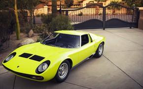 Picture Auto, Lamborghini, Retro, Green, Machine, Eyelashes, Car, Supercar, 1967, Miura, Supercar, Yard, Lamborghini Miura, Green, …