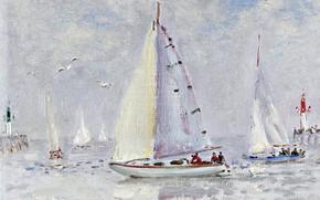 Picture sea, boat, yacht, Sailboat, Andre Hamburg, Andre Hambourg