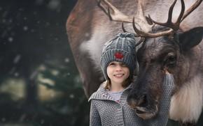 Picture hat, deer, friendship, girl, jacket, friends