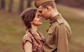 Picture girl, retro, meeting, soldiers, guy, May 9, pussy, lovers, Victory Day, tunic