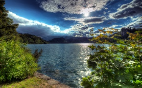 Picture forest, the sky, the sun, clouds, rays, trees, mountains, lake, rocks, HDR, the bushes, Slovenia