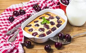 Picture cherry, cream, cakes, casserole