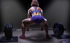 Wallpaper muscles, back, female, workout