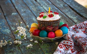 Picture candle, eggs, branch, Easter, cake