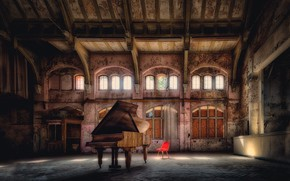 Picture music, hall, piano