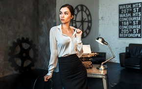 Picture girl, skirt, blouse, office, typewriter, Dasha, Dashuta Berezina