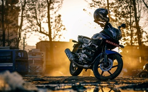 Picture street, Motorcycle, helmet